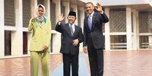 Ali Mustafa Ya'qub bersama presiden Amerika, Barack Obama di Masjid Istiqlal